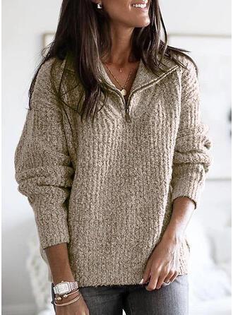 Sólido Acanalado Punto Grueso Solapa Casuales Suéteres