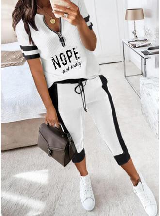 Tisk Dopis Neformální Plus velikost handsstring Dvoudílné outfity