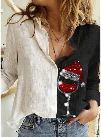отворот Длинные рукова Кнопка вверх рождество Рубашка Блузки