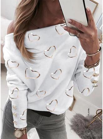 Print One Shoulder Lange Mouwen Casual Overhemd
