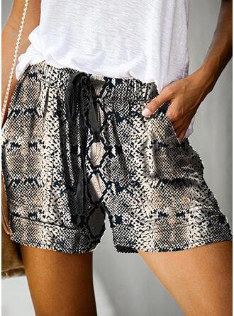 Tisk Zvíře Nad kolenem Neformální Dovolená hlubokým výstřihem handsstring Kalhoty