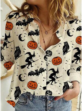 Halloween Imprimé Col à Revers Manches Longues Décontractée Blouses