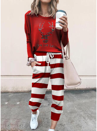 Letter Animal Striped Print Plaid Sporty Casual Tee & Two-Piece Outfits Set