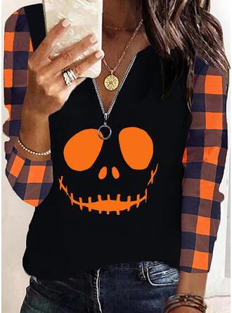 Halloween Imprimé Carreaux Col V Manches Longues Décontractée Blouses