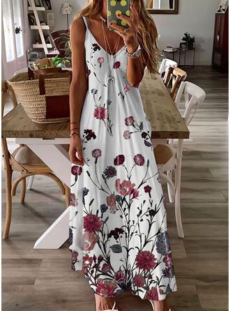 Nadrukowana/Kwiatowy Bez rękawów W kształcie litery A Halka/Łyżwiaż Casual/Wakacyjna Maxi Sukienki
