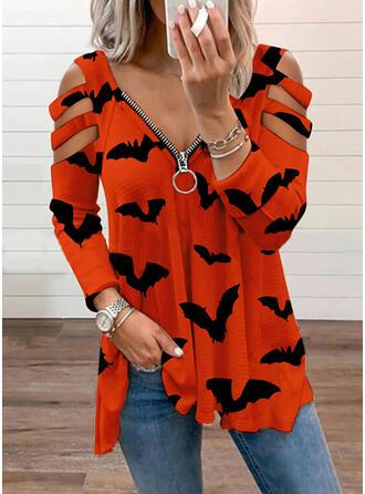 Cadılar Bayramı Imprimeu Hayvan Soğuk omuz Mâneci Lungi Tişörtler