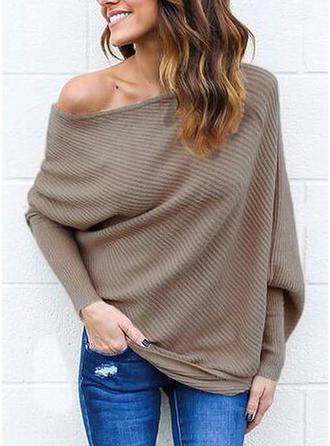 Einfarbig One-Shoulder Freizeit Sexy Pullover