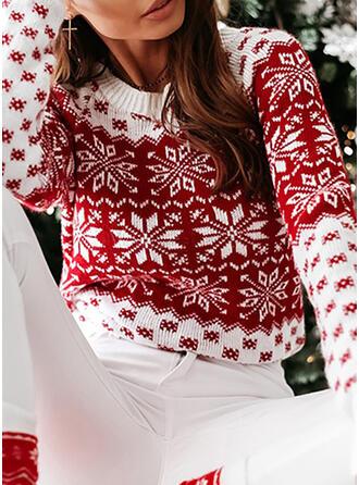 Impresión Navidad Cuello Redondo Casuales Navidad Suéteres