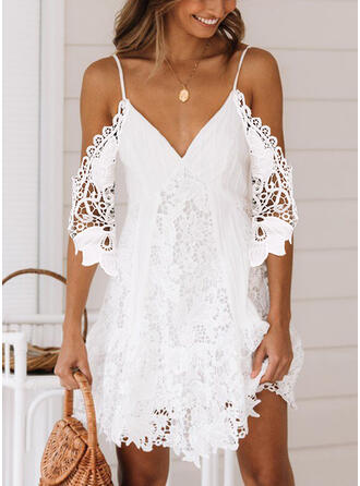 Lace/Solid 1/2 Sleeves/Cold Shoulder Sleeve Shift Above Knee Sexy/Vacation Tunic Dresses