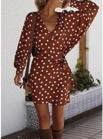 PolkaDot Long Sleeves/Lantern Sleeve Sheath Above Knee Casual/Elegant Dresses