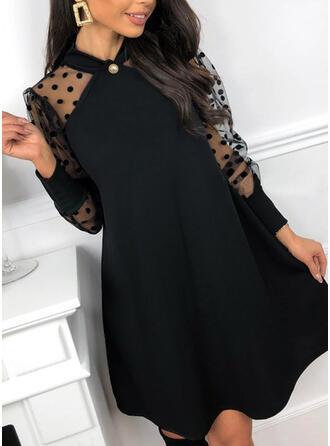 Sólido/Lunares Manga Larga Tendencia Sobre la Rodilla Pequeños Negros/Elegante Túnica Vestidos