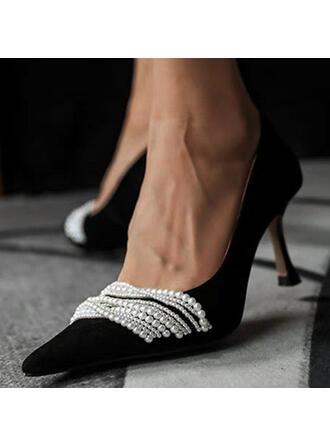 Mulheres PU Salto de gatinha Bombas com Pérola Imitação sapatos
