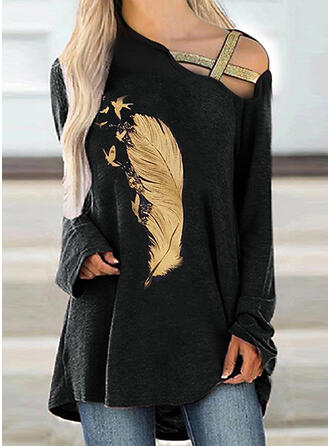 Print Feather One Shoulder Long Sleeves T-shirts