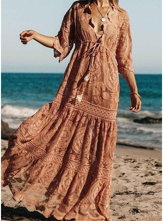 Lace/Solid 1/2 Sleeves A-line Skater Casual/Boho/Vacation Maxi Dresses