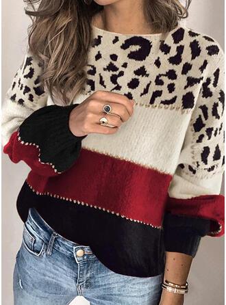 Colorido Leopardo Gola Redonda Casual Suéteres