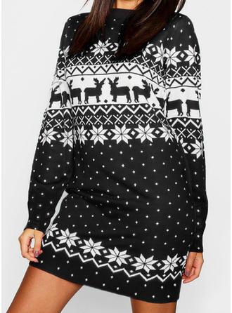 Imprimeu/Animal Print Mâneci Lungi De schimb Deasupra Genunchiului Crăciun/Casual Elbiseler