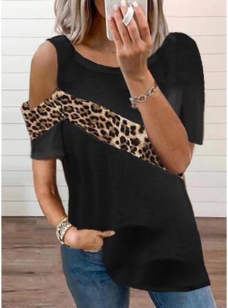 Color Block Leopard One Shoulder Short Sleeves T-shirts