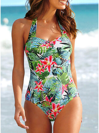 Floral Print Halter Beautiful Plus Size One-piece Swimsuits