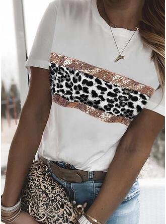 lampart cekiny Okrągły dekolt Krótkie rękawy T-shirty