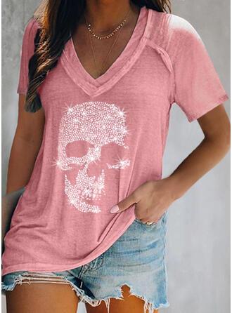 Nadruk Dekolt w kształcie litery V Krótkie rękawy T-shirty