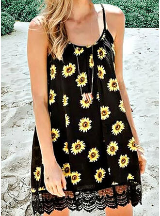 Lace/Sunflower Print Sleeveless Shift Above Knee Casual Slip Dresses