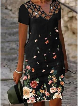 Tisk/Květiny Krátké rukávy Šaty Shift Délka ke kolenům Neformální Šaty