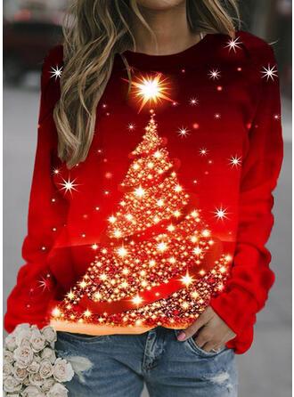 Impresión Cuello redondo Manga larga Sudadera de navidad