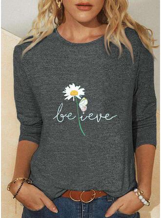 Hayvan baskı Figür Floral Guler Rotund Mâneci Lungi Tişörtler