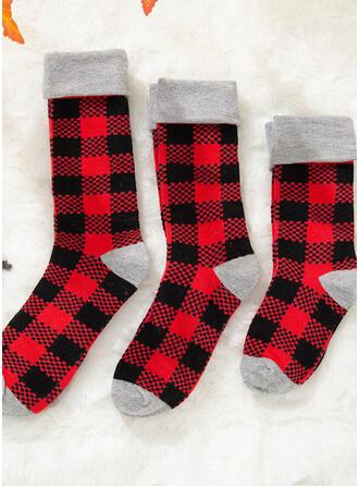 Plaid Confortabil/Crăciun/Șosete echipaj/De Familie/Unisex Şosete