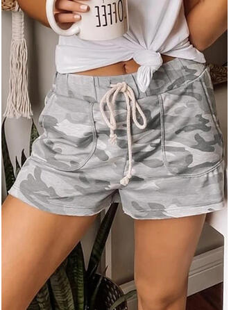 Color Block Print Pockets Above Knee Casual Sporty Print Shorts