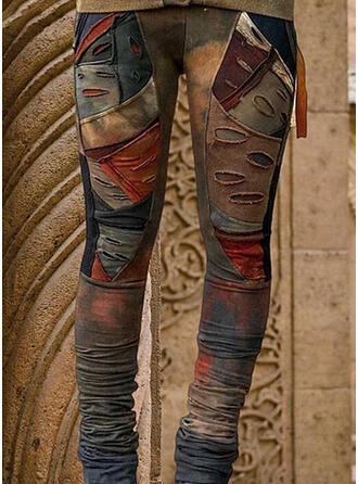 lommer rynkede Pluss størrelse Tie Dye dratt Avslappet Stamme leggings