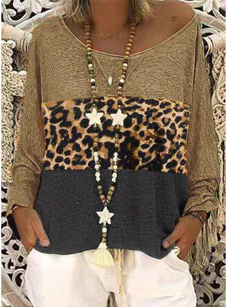 Bloque de color Leopardo Cuello redondo Manga Larga Casual Camisetas