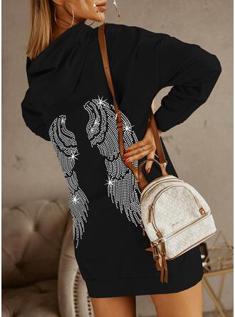 Estampado Manga Comprida lacmado ombro Vestidos soltos Acima do Joelho Casual Sweatshirt Vestidos