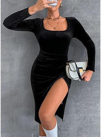 Sólido Manga Comprida Bainha Comprimento do joelho Casual Vestidos