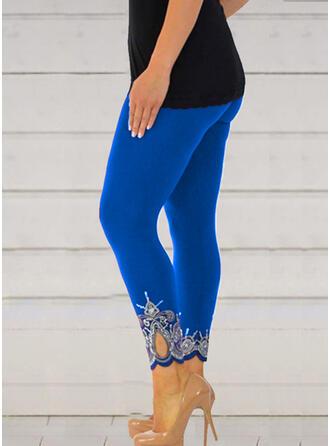 Imprimeu Kırpılmış gündelik Sexy Büyük beden Oymak Pantolonlar Tayt