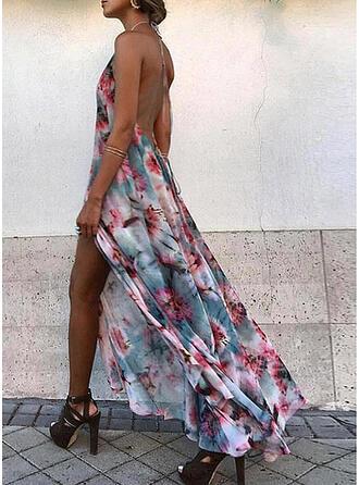 Estampado/Floral/Sem encosto Sem mangas Evasê Skatista Sexy/Férias Maxi Vestidos
