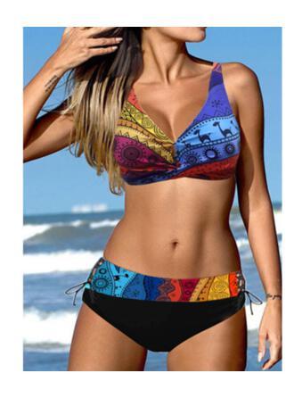 Color de Empalme Ata para arriba Correa Cuello en V Talla extra Colorido Casual Bikinis Trajes de baño