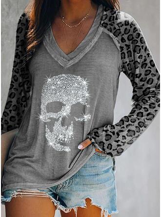 Leopard Sequins V-Neck Long Sleeves T-shirts