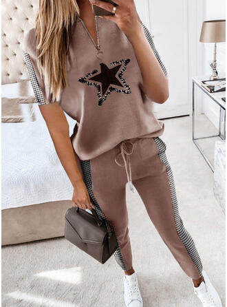Print Pläd Fritids Extra stor storlek blus & Tvådelade kläder uppsättning