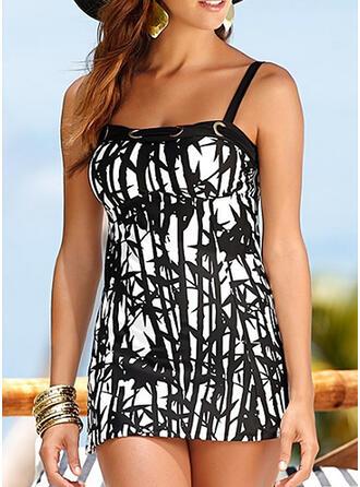 Print Strap Plus Size Swimdresses Swimsuits