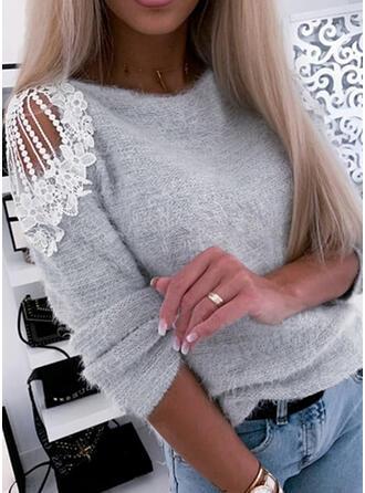 Sólido Renda Ombros à Mostra Casual Suéteres