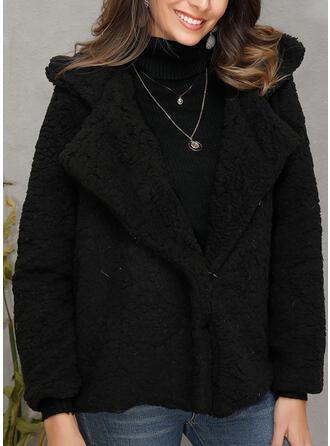 Piel sintética Manga larga Color sólido Abrigo de piel sintética
