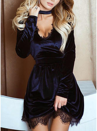 Lace/Solid Long Sleeves A-line Above Knee Little Black/Party Dresses