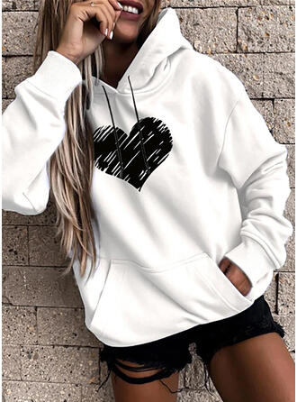 Print Heart Long Sleeves Hoodie