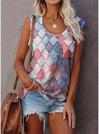 Geometrisk Rund hals Ermeløs T-skjorter