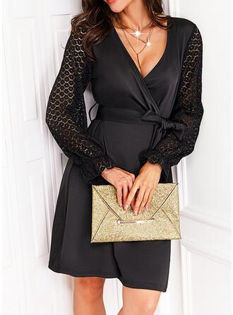 Solid Dantel Mâneci Lungi Bir Çizgi Deasupra Genunchiului Negre/gündelik Wrap/Patenci Elbiseler