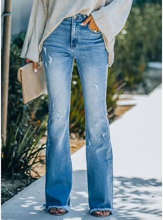 Sólido Jean Grandes Elegante Vintage Tamanho positivo Bolso Jeans