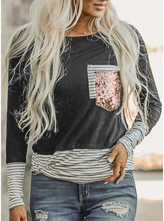 Striped Sequins Round Neck Long Sleeves T-shirts