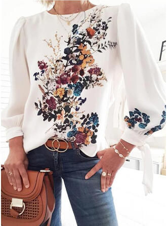 Floral Imprimeu Guler Rotund Mâneci Lungi Tişörtler