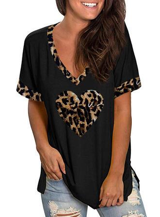 leopárd V yaka Kısa kollu Günlük Pólók